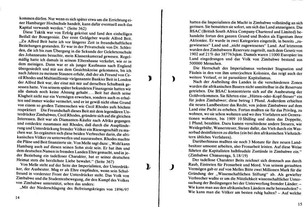 Broschüre der SSG Hamburg: Von Melle – Imperialistenidol in Sachen Kolonialpolitik und Unterdrückung, Seite 14f.