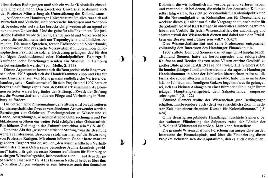 Broschüre der SSG Hamburg: Von Melle – Imperialistenidol in Sachen Kolonialpolitik und Unterdrückung, Seite 16f.