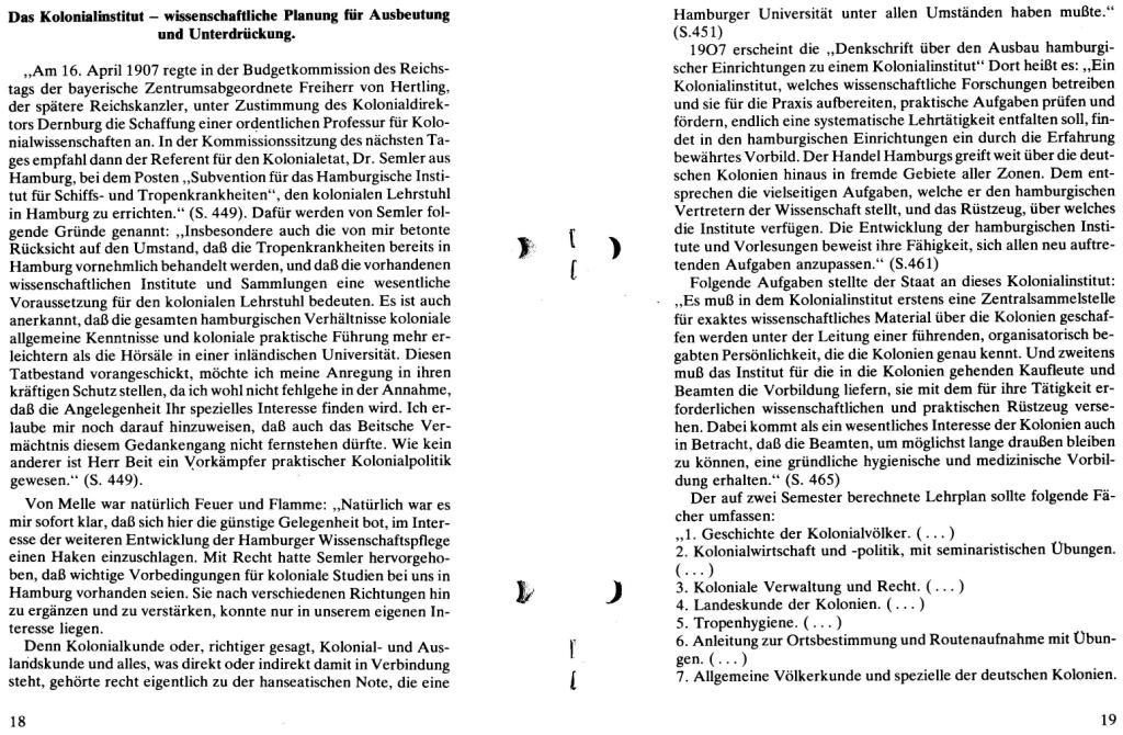 Broschüre der SSG Hamburg: Von Melle – Imperialistenidol in Sachen Kolonialpolitik und Unterdrückung, Seite 18f.