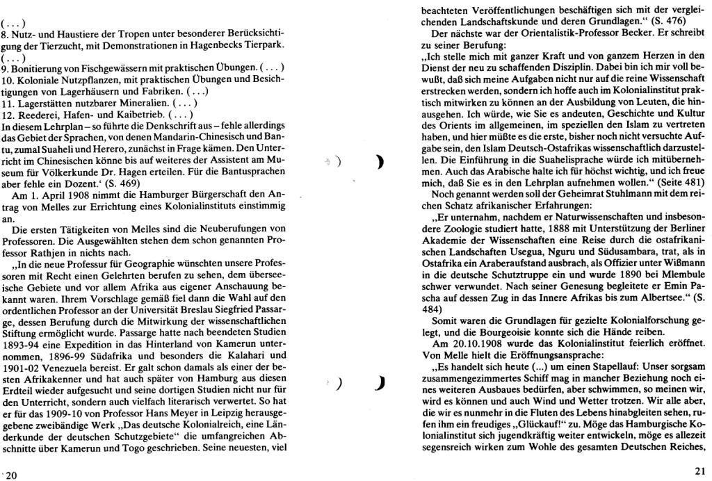Broschüre der SSG Hamburg: Von Melle – Imperialistenidol in Sachen Kolonialpolitik und Unterdrückung, Seite 20f.