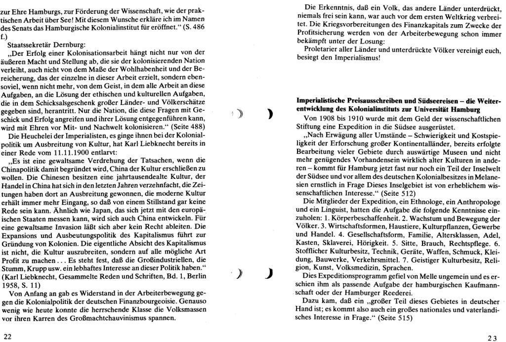 Broschüre der SSG Hamburg: Von Melle – Imperialistenidol in Sachen Kolonialpolitik und Unterdrückung, Seite 22f.