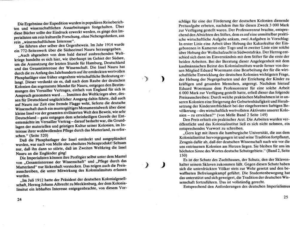 Broschüre der SSG Hamburg: Von Melle – Imperialistenidol in Sachen Kolonialpolitik und Unterdrückung, Seite 24f.