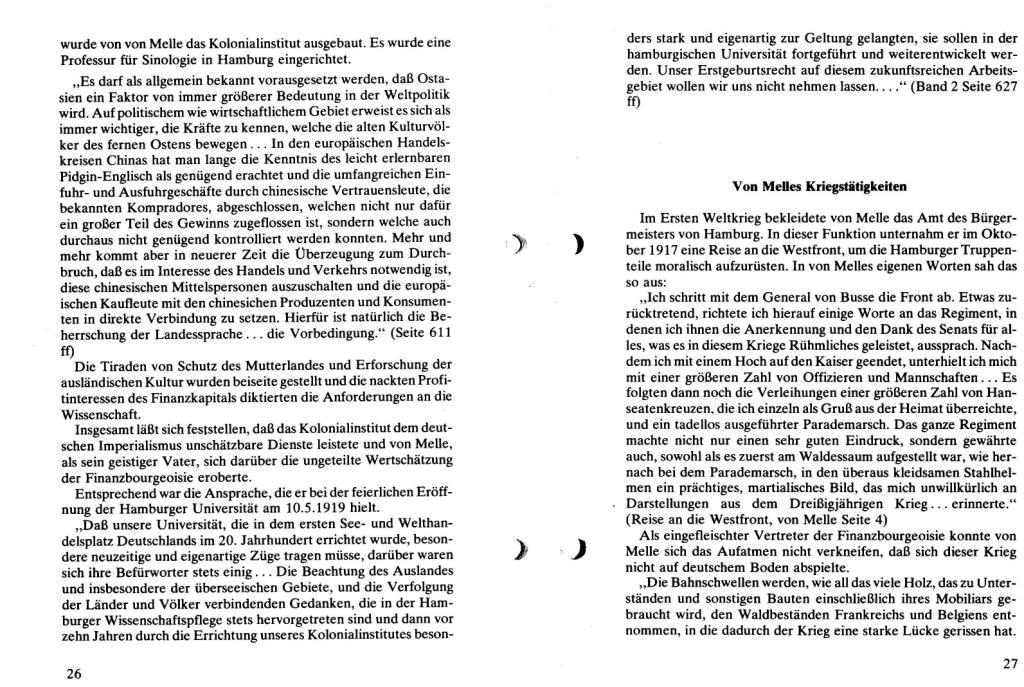 Broschüre der SSG Hamburg: Von Melle – Imperialistenidol in Sachen Kolonialpolitik und Unterdrückung, Seite 26f.
