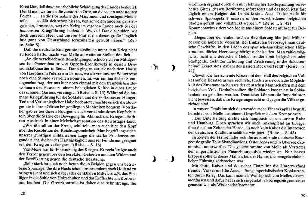 Broschüre der SSG Hamburg: Von Melle – Imperialistenidol in Sachen Kolonialpolitik und Unterdrückung, Seite 28f.