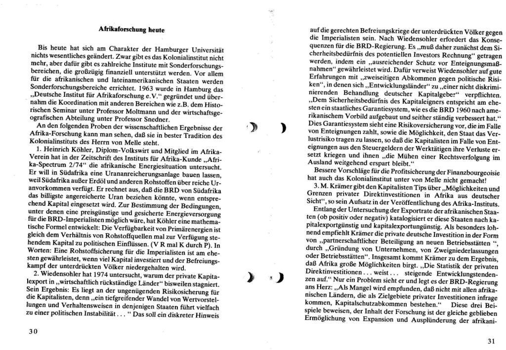 Broschüre der SSG Hamburg: Von Melle – Imperialistenidol in Sachen Kolonialpolitik und Unterdrückung, Seite 30f.