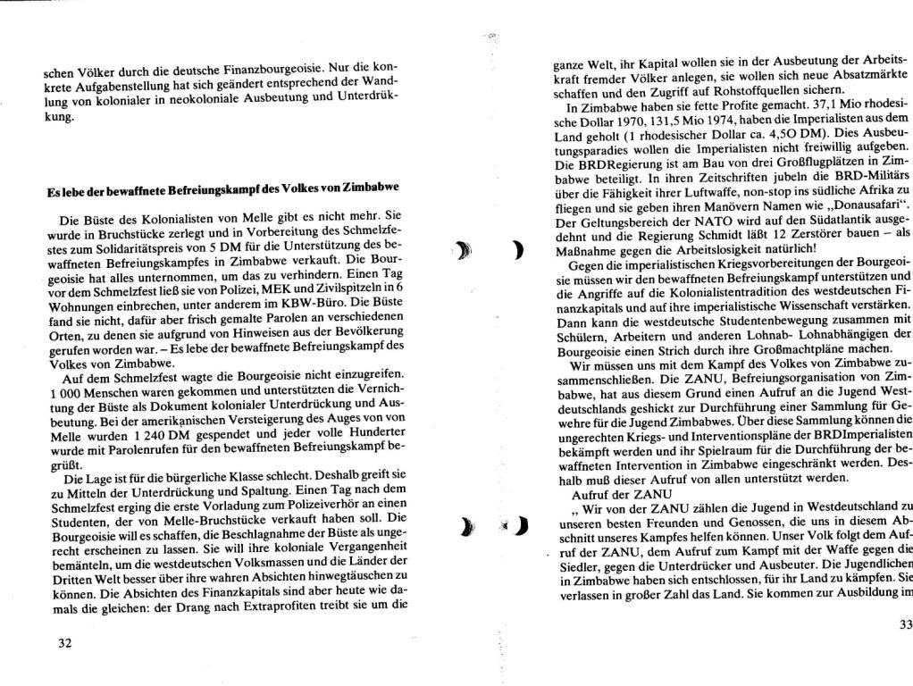 Broschüre der SSG Hamburg: Von Melle – Imperialistenidol in Sachen Kolonialpolitik und Unterdrückung, Seite 32f.