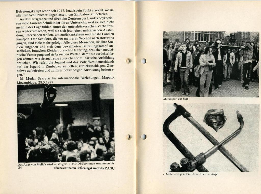 Broschüre der SSG Hamburg: Von Melle – Imperialistenidol in Sachen Kolonialpolitik und Unterdrückung, Seite 34f.