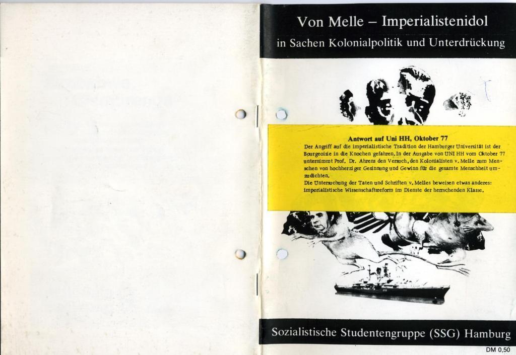 Broschüre der SSG Hamburg: Von Melle – Imperialistenidol in Sachen Kolonialpolitik und Unterdrückung, Titelblatt