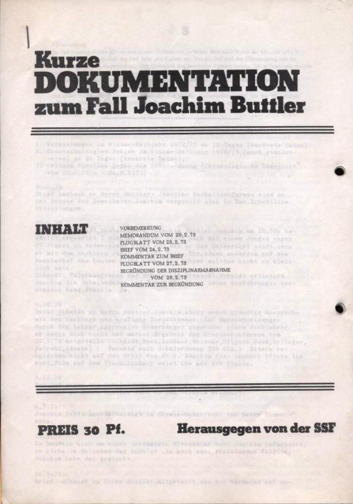 Broschüre: Kurze Dokumentation zum Fall Joachim Buttler, Seite 1