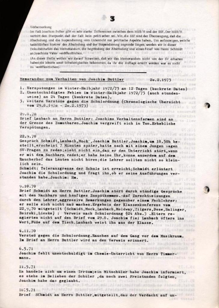 Broschüre: Kurze Dokumentation zum Fall Joachim Buttler, Seite 3
