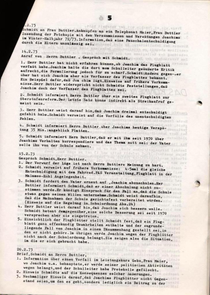 Broschüre: Kurze Dokumentation zum Fall Joachim Buttler, Seite 5