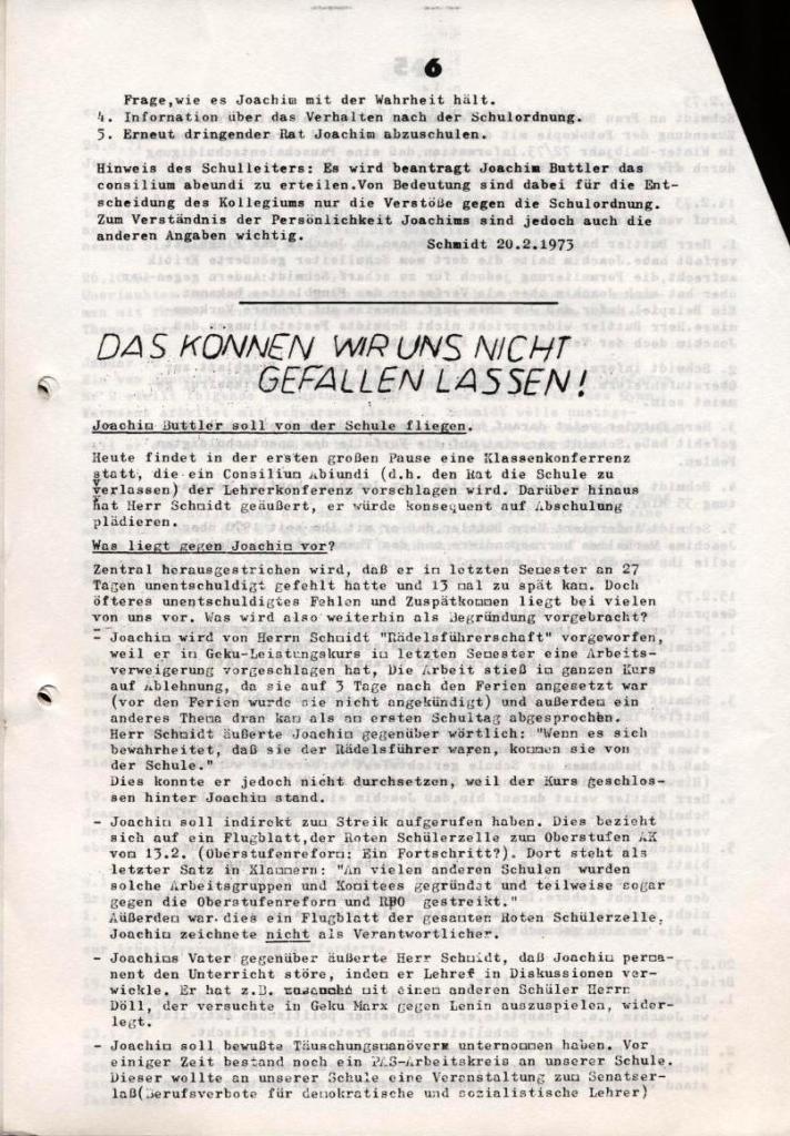 Broschüre: Kurze Dokumentation zum Fall Joachim Buttler, Seite 6