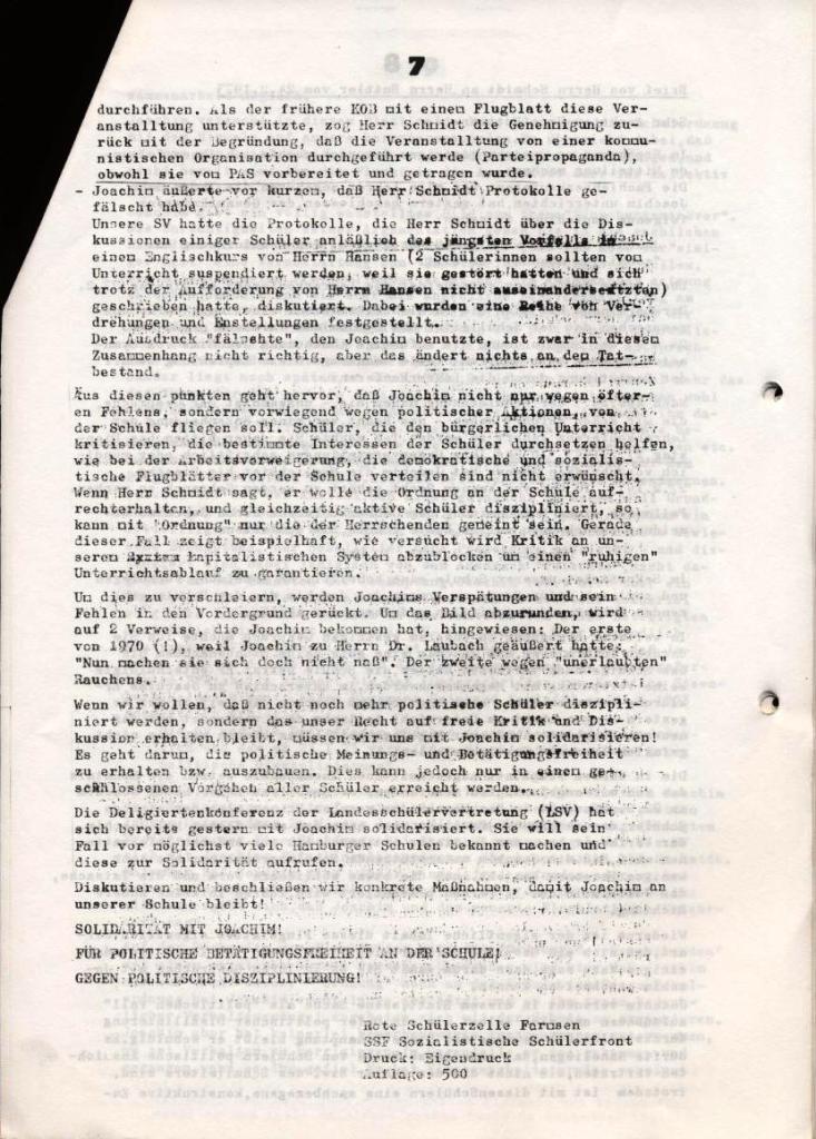 Broschüre: Kurze Dokumentation zum Fall Joachim Buttler, Seite 7