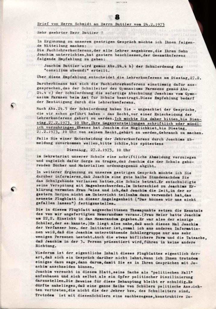 Broschüre: Kurze Dokumentation zum Fall Joachim Buttler, Seite 8