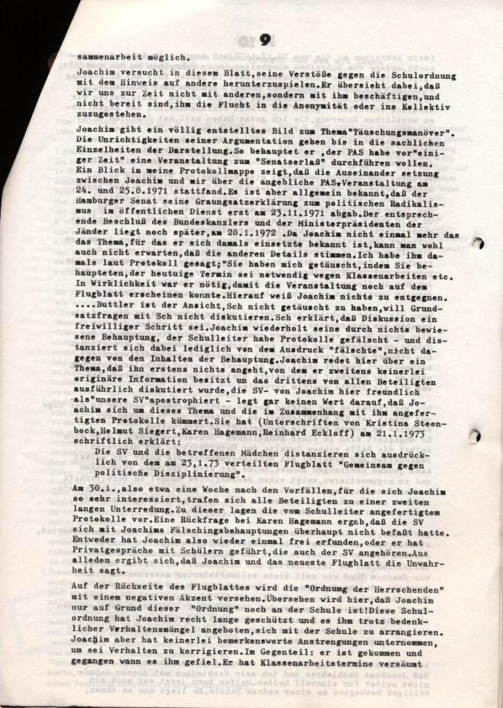 Broschüre: Kurze Dokumentation zum Fall Joachim Buttler, Seite 9