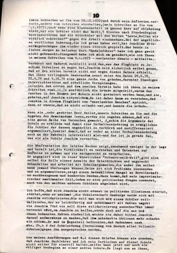 Broschüre: Kurze Dokumentation zum Fall Joachim Buttler, Seite 10