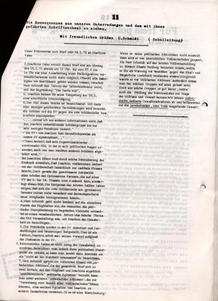 Broschüre: Kurze Dokumentation zum Fall Joachim Buttler, Seite 11