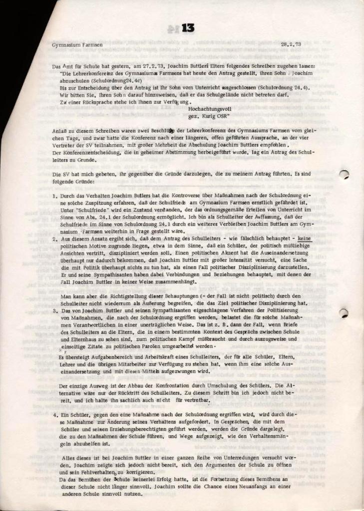 Broschüre: Kurze Dokumentation zum Fall Joachim Buttler, Seite 13