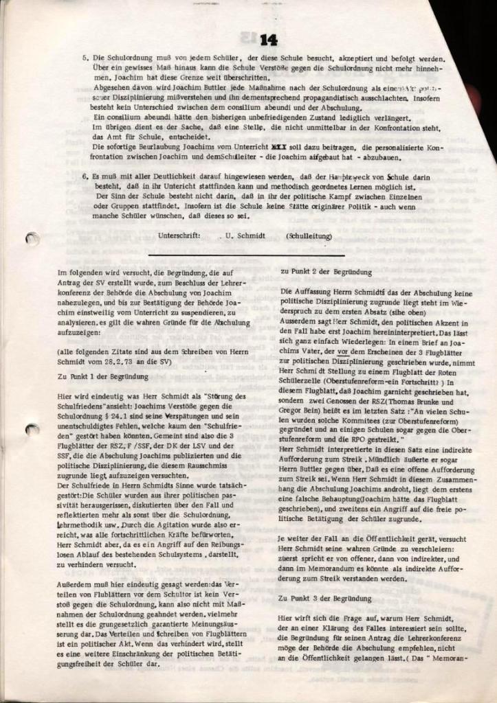 Broschüre: Kurze Dokumentation zum Fall Joachim Buttler, Seite 14