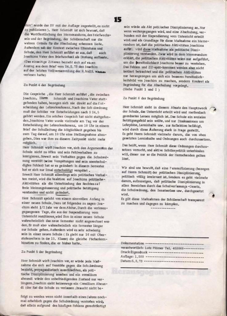 Broschüre: Kurze Dokumentation zum Fall Joachim Buttler, Seite 15