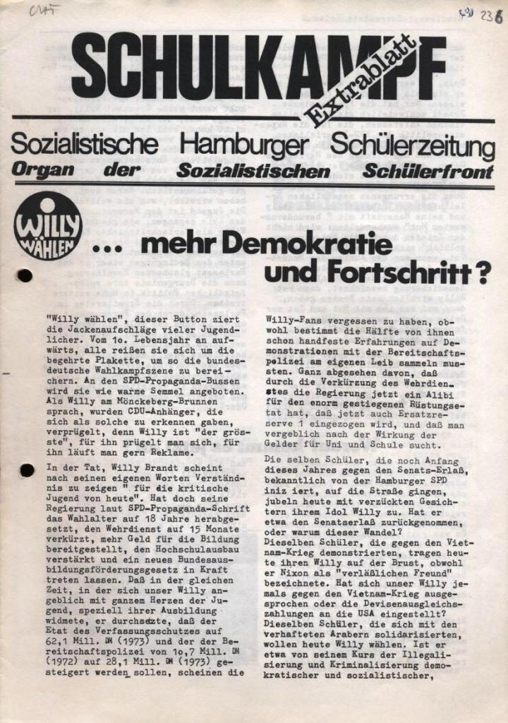 Schulkampf, Extrablatt, Hamburg, 16.11.1972, Seite 1