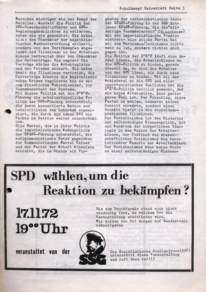 Schulkampf, Extrablatt, Hamburg, 16.11.1972, Seite 5