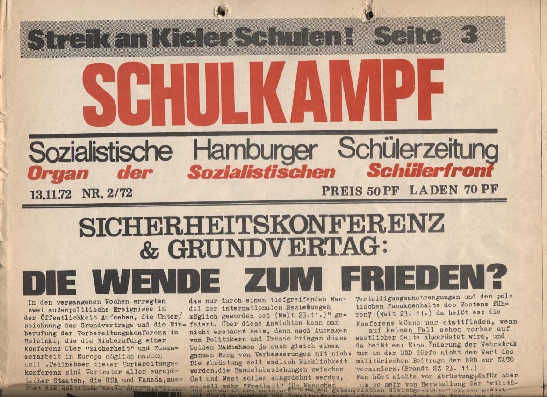 Schulkampf, Nr. 2, Hamburg, 13.11.1972, Seite 1a
