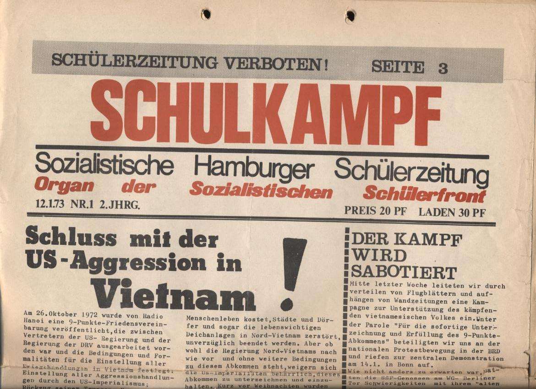 Schulkampf, Nr. 1, Hamburg, 12.1.1973, Seite 1a
