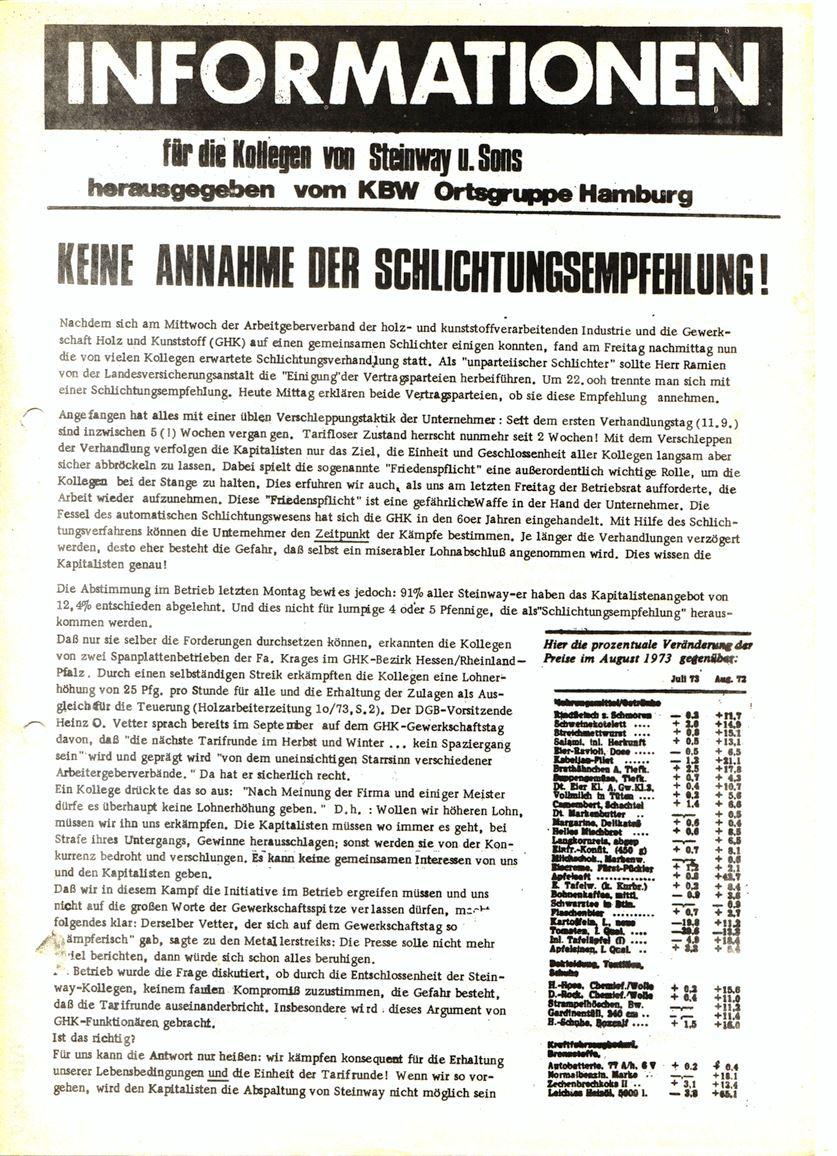 Informationen für die Kollegen von Steinway und Sons, hrsg. vom KBW, Ortsgruppe Hamburg,15.10.1973 (Vorderseite)