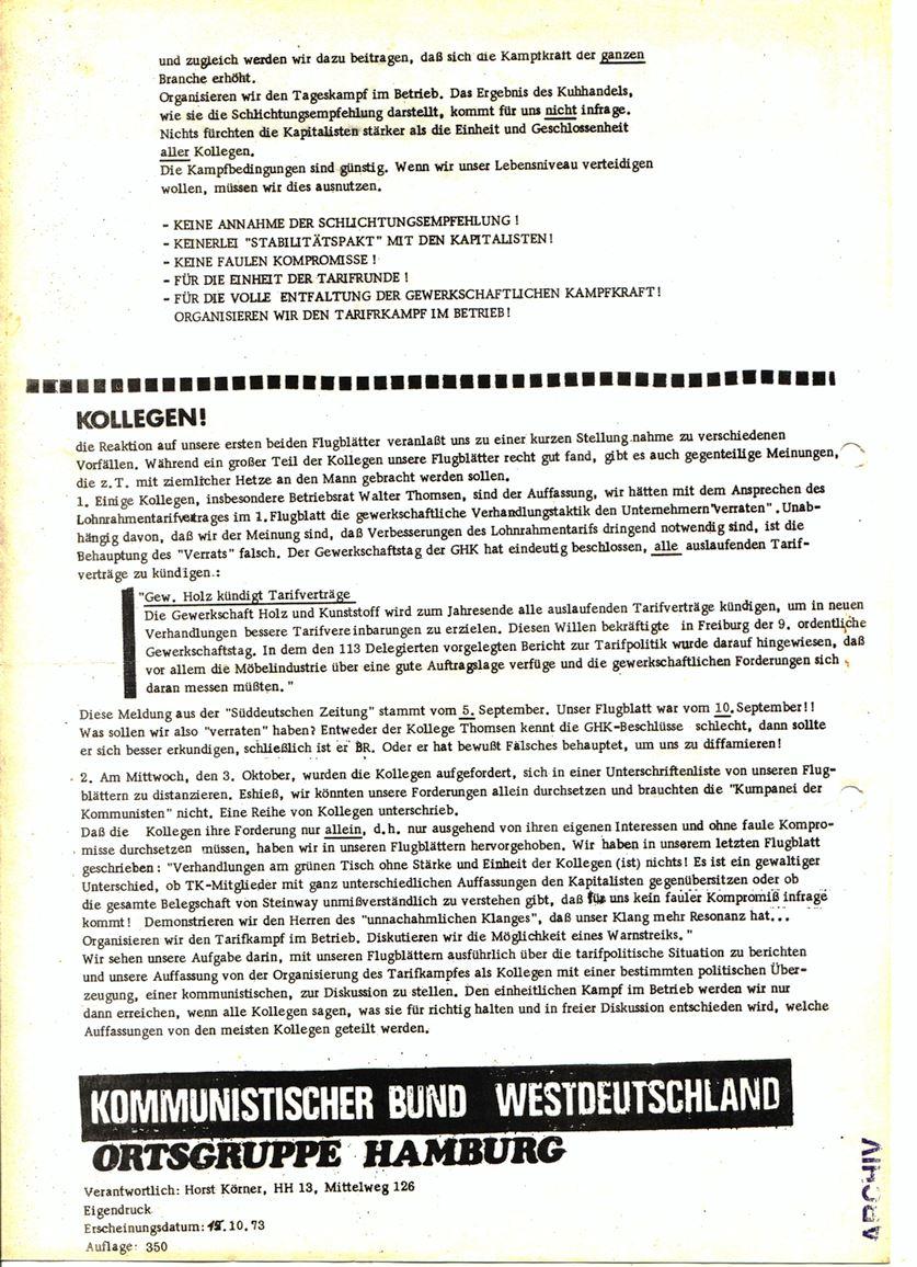 Informationen für die Kollegen von Steinway und Sons, hrsg. vom KBW, Ortsgruppe Hamburg,15.10.1973 (Rückseite)