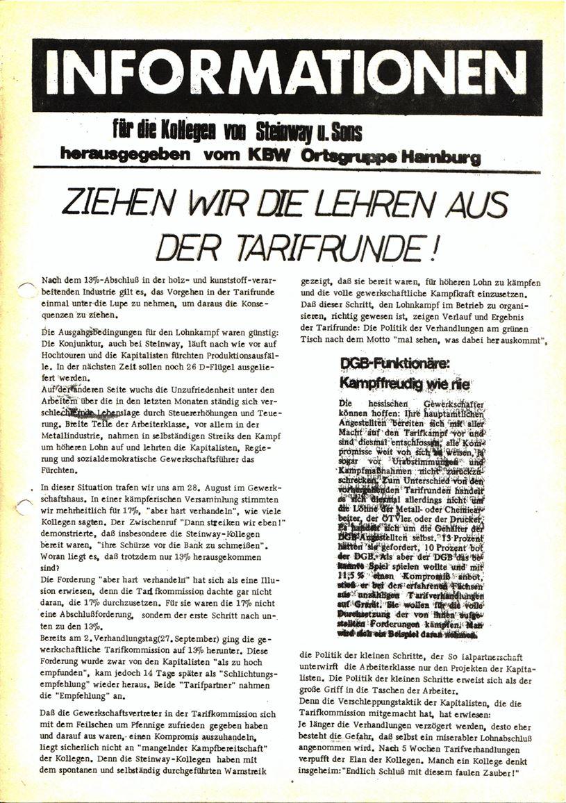 Informationen für die Kollegen von Steinway und Sons, hrsg. vom KBW, Ortsgruppe Hamburg,19.10.1973 (Vorderseite)