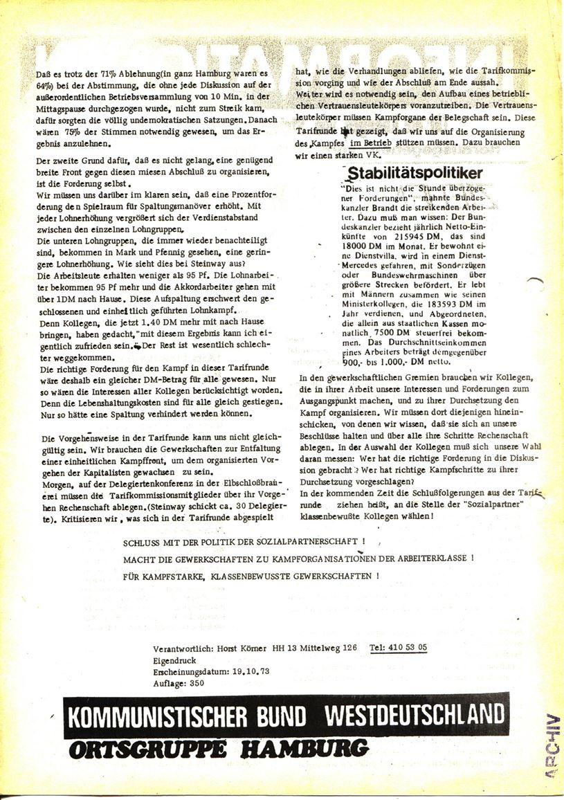 Informationen für die Kollegen von Steinway und Sons, hrsg. vom KBW, Ortsgruppe Hamburg,19.10.1973 (Rückseite)