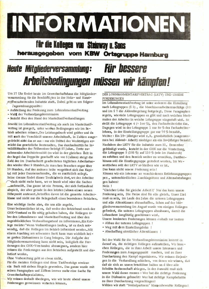 Informationen für die Kollegen von Steinway und Sons, hrsg. vom KBW, Ortsgruppe Hamburg,14.11.1973 (Vorderseite)