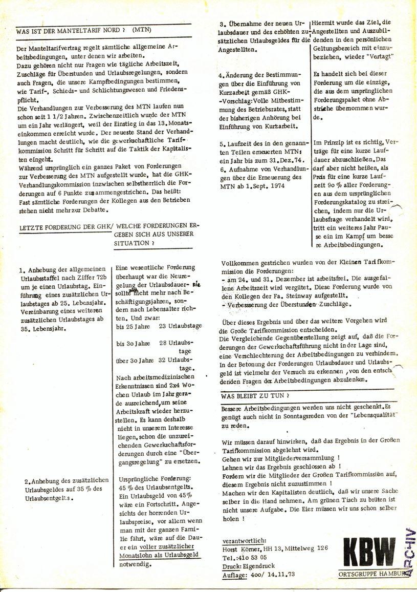 Informationen für die Kollegen von Steinway und Sons, hrsg. vom KBW, Ortsgruppe Hamburg,14.11.1973 (Rückseite)