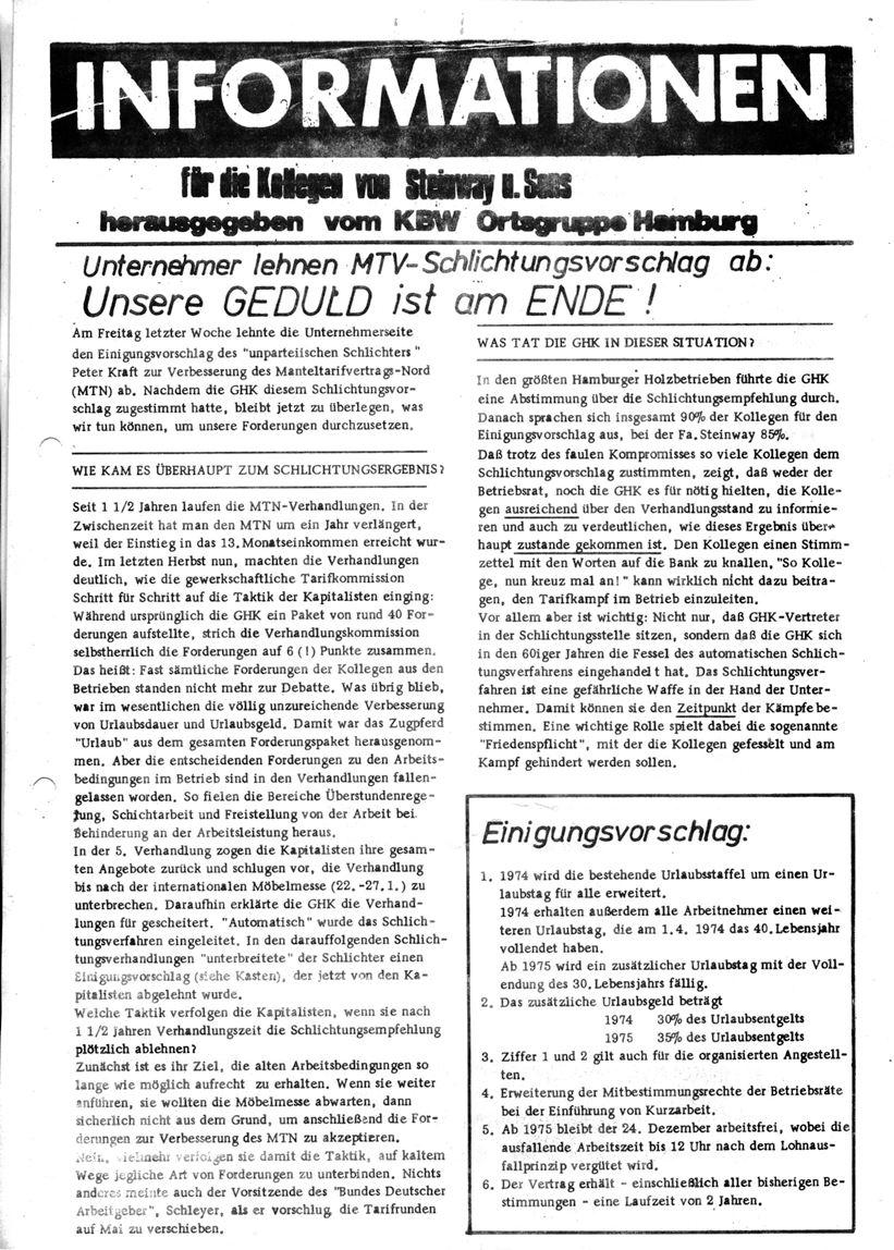 Informationen für die Kollegen von Steinway und Sons, hrsg. vom KBW, Ortsgruppe Hamburg,22.01.1974 (Vorderseite)