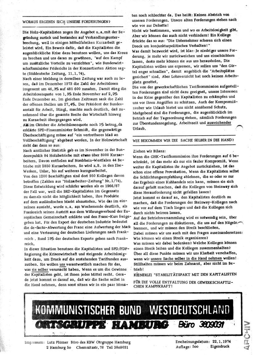 Informationen für die Kollegen von Steinway und Sons, hrsg. vom KBW, Ortsgruppe Hamburg,22.01.1974 (Rückseite)