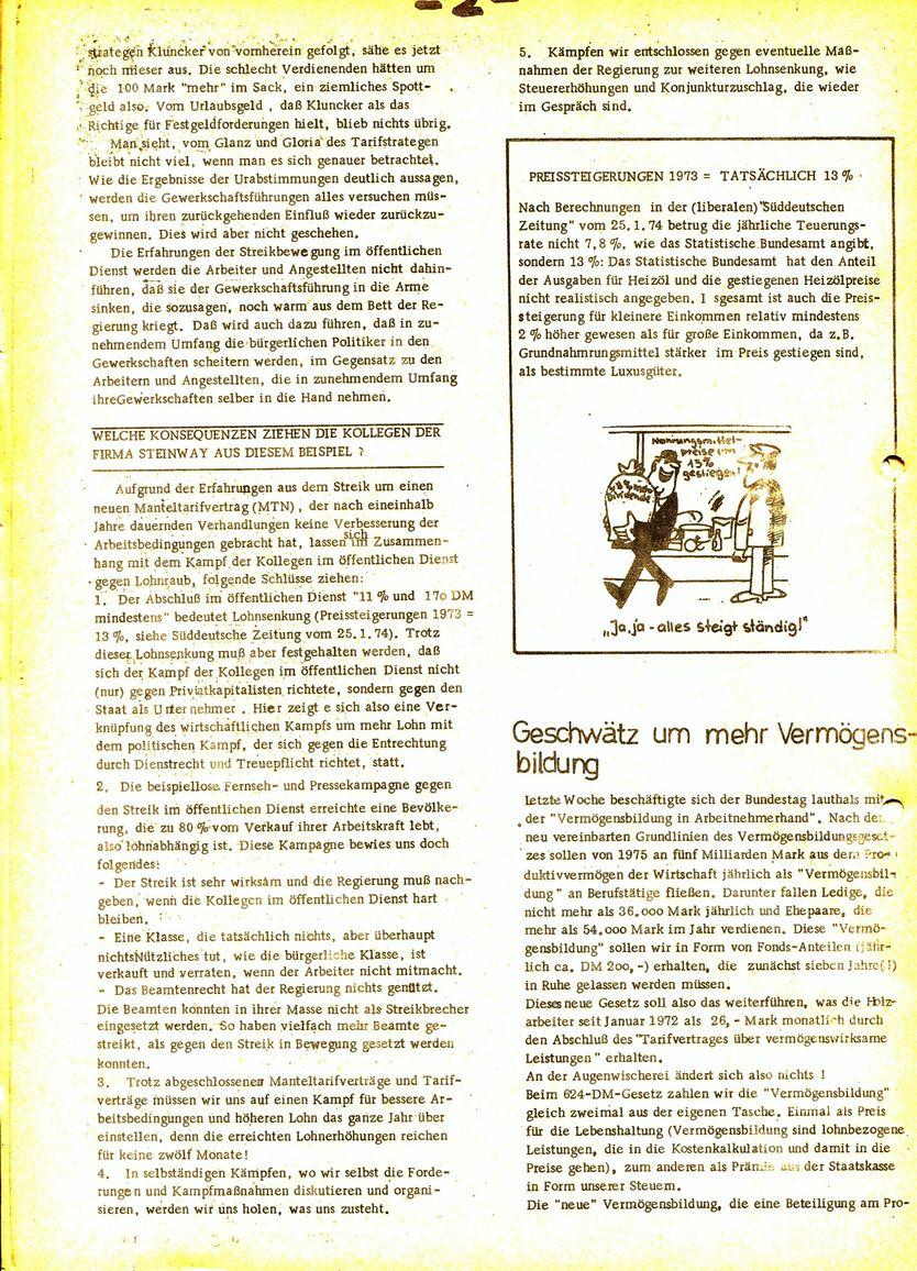 Informationen für die Kollegen von Steinway und Sons, hrsg. vom KBW, Ortsgruppe Hamburg, 28.02.1974, Seite 2