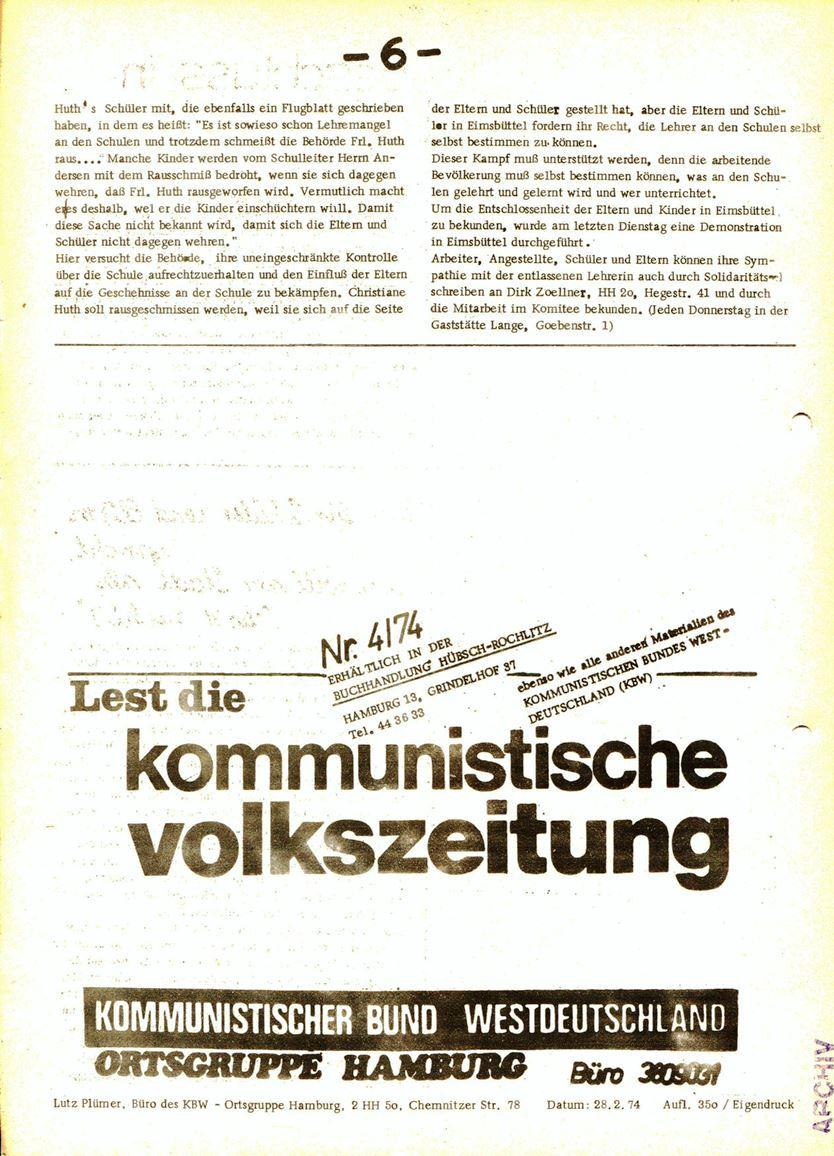 Informationen für die Kollegen von Steinway und Sons, hrsg. vom KBW, Ortsgruppe Hamburg, 28.02.1974, Seite 6