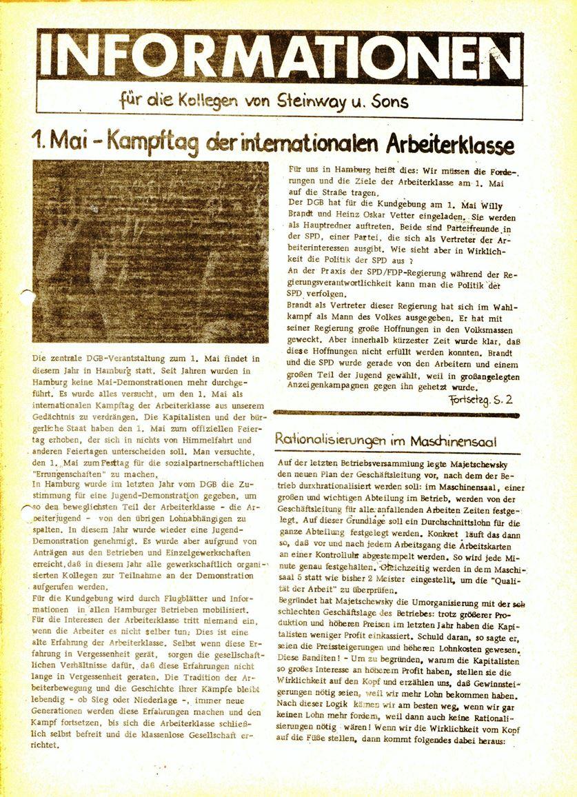 Informationen für die Kollegen von Steinway und Sons, hrsg. vom KBW, Ortsgruppe Hamburg, 23.04.1974, Seite 1