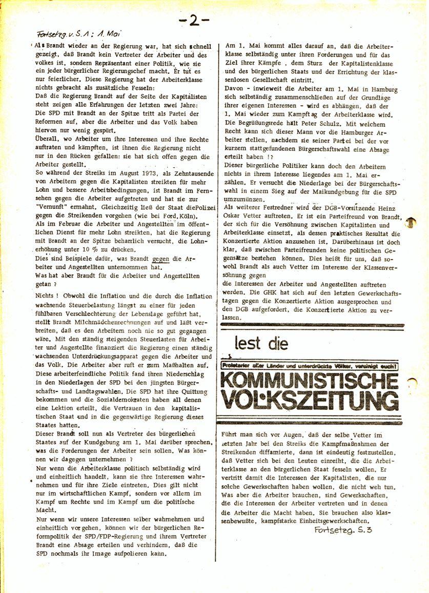 Informationen für die Kollegen von Steinway und Sons, hrsg. vom KBW, Ortsgruppe Hamburg, 23.04.1974, Seite 2