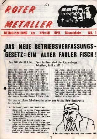 Roter Metaller _ Betriebszeitung der KPD/ML für Opel Rüsselsheim, Nr. 1