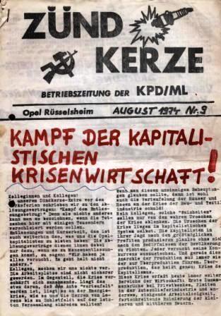 Zündkerze _ Betriebszeitung der KPD/ML, August 1974, Nr. 9