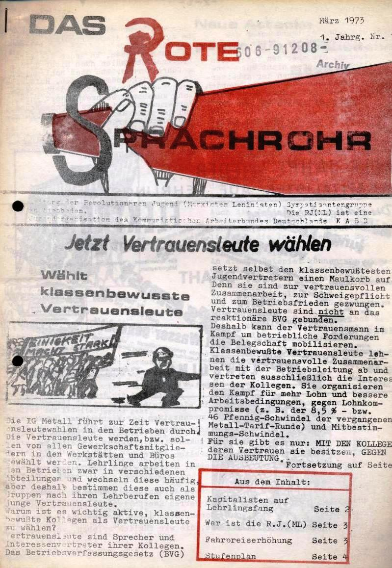 Das Rote Sprachrohr _ Zeitung der RJ(ML), Sympathisantengruppe in Wiesbaden, Nr. 1, März 1973 (Titelseite)