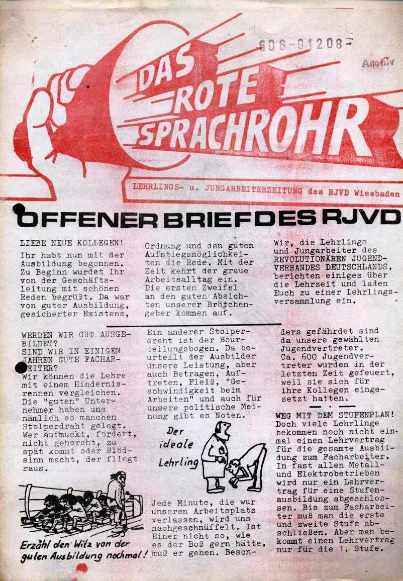 Das Rote Sprachrohr _ Lehrlings_ und Jungarbeiterzeitung des RJVD Wiesbaden (Titelseite)