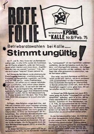 Rote Folie _ Betriebszeitung der KPD/ML für Kalle, Nr. 8, Februar 1975