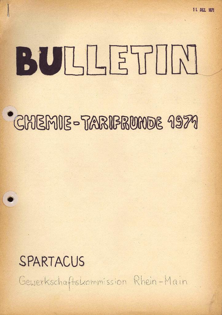 Spartacus _ Gewerkschaftskommission Rhein_Main: Bulletin Chemietarifrunde 1971, Titelseite