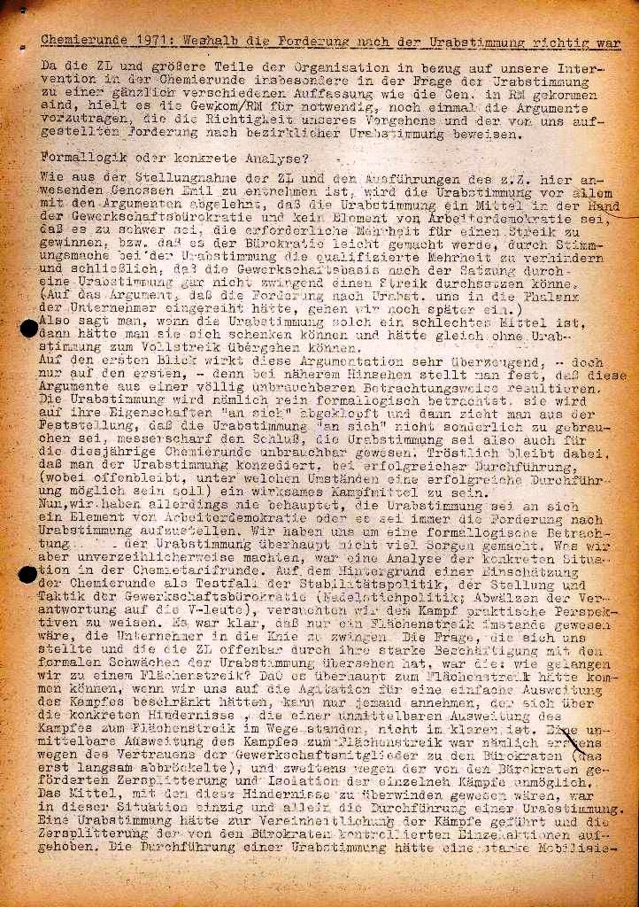 Spartacus _ Gewerkschaftskommission Rhein_Main: Bulletin Chemietarifrunde 1971, Seite 1