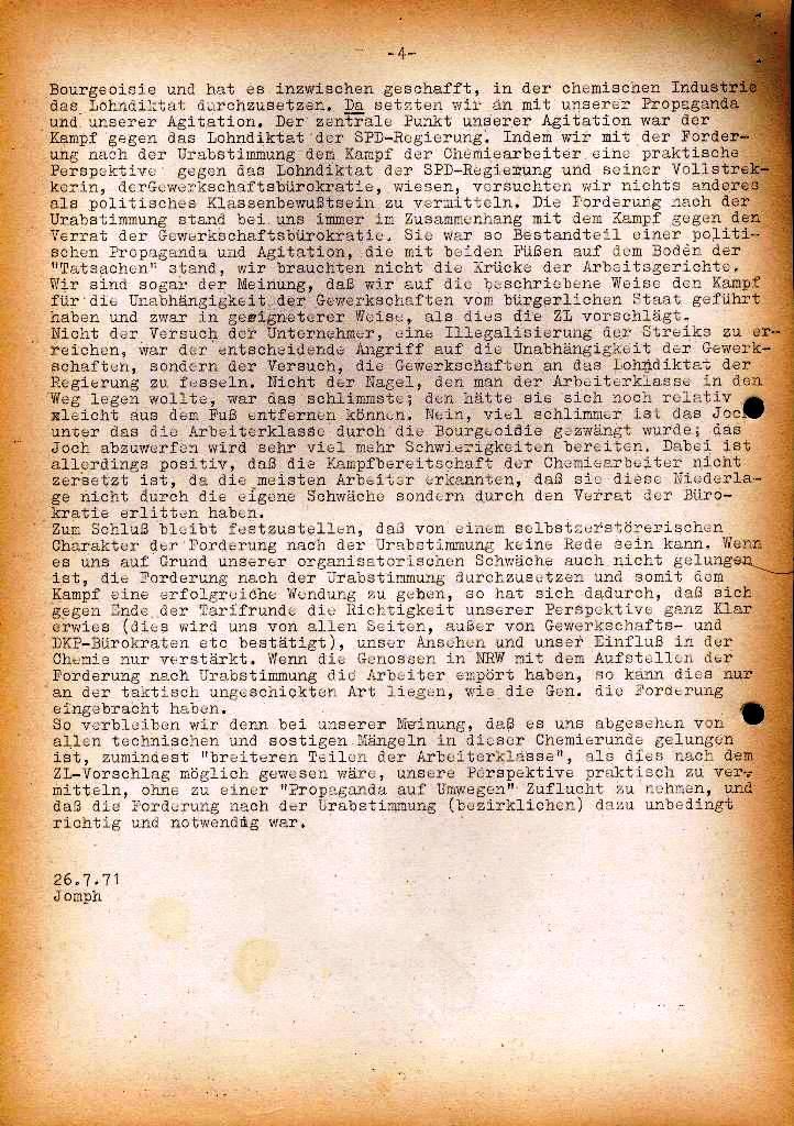 Spartacus _ Gewerkschaftskommission Rhein_Main: Bulletin Chemietarifrunde 1971, Seite 4