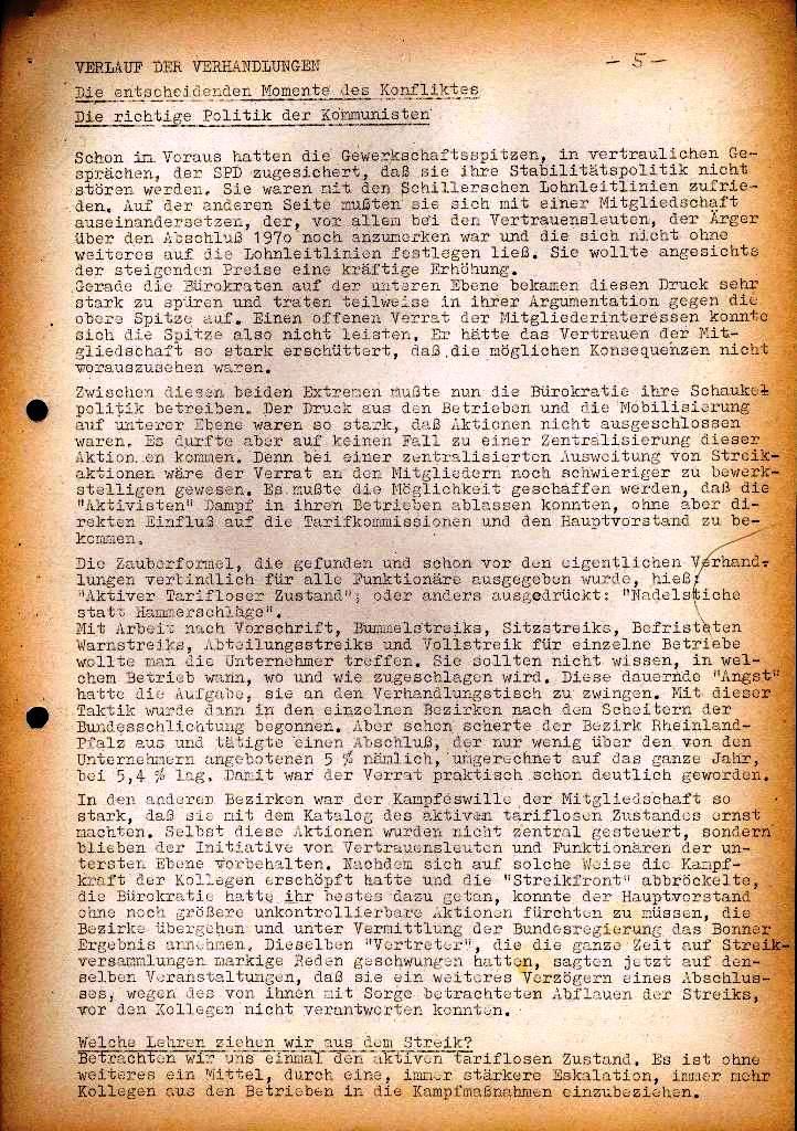 Spartacus _ Gewerkschaftskommission Rhein_Main: Bulletin Chemietarifrunde 1971, Seite 5