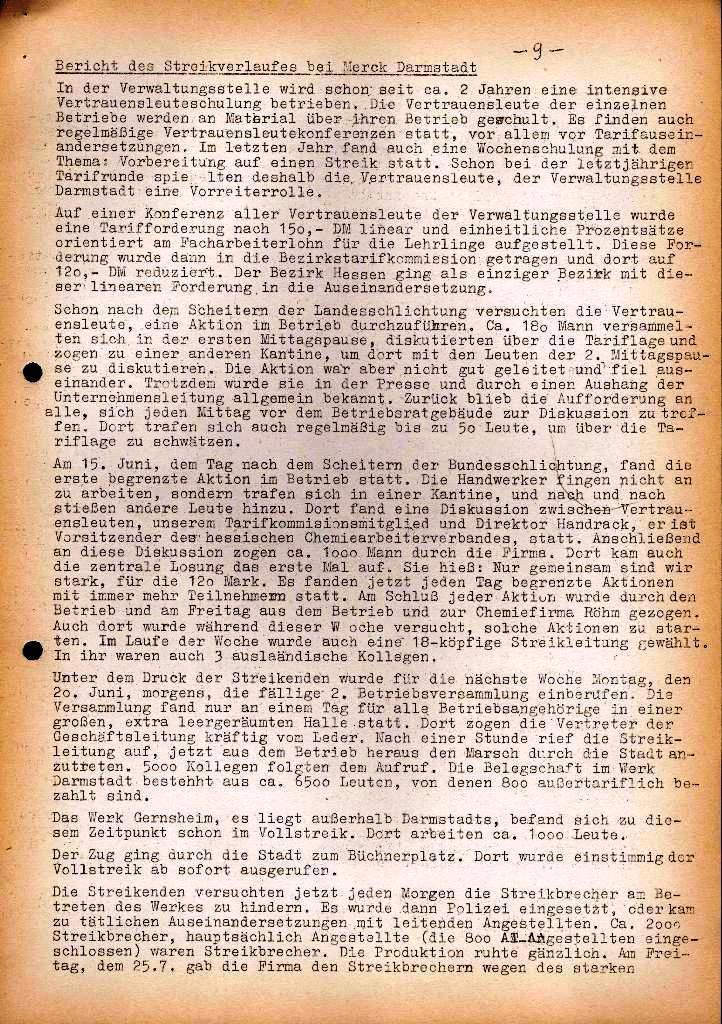 Spartacus _ Gewerkschaftskommission Rhein_Main: Bulletin Chemietarifrunde 1971, Seite 9